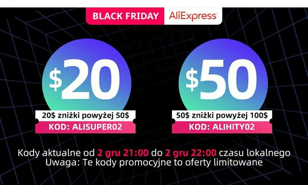 Kod do Aliexpress! $20/$50 oraz $50/$100