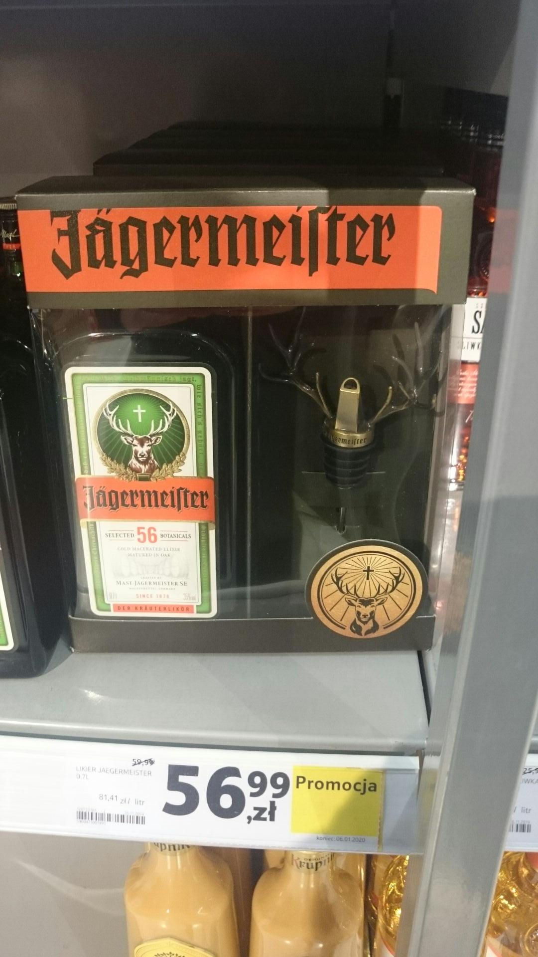 Jagermeister 0.7l + lejek w kształcie rogów Tesco. nie wiem czy aktualne więc zamykam