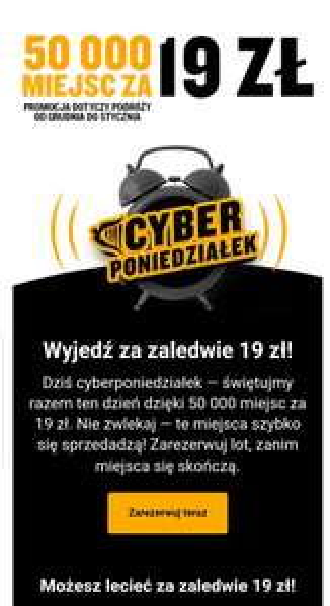 tanie loty ryanair (od 19zł) na Cyber Monday