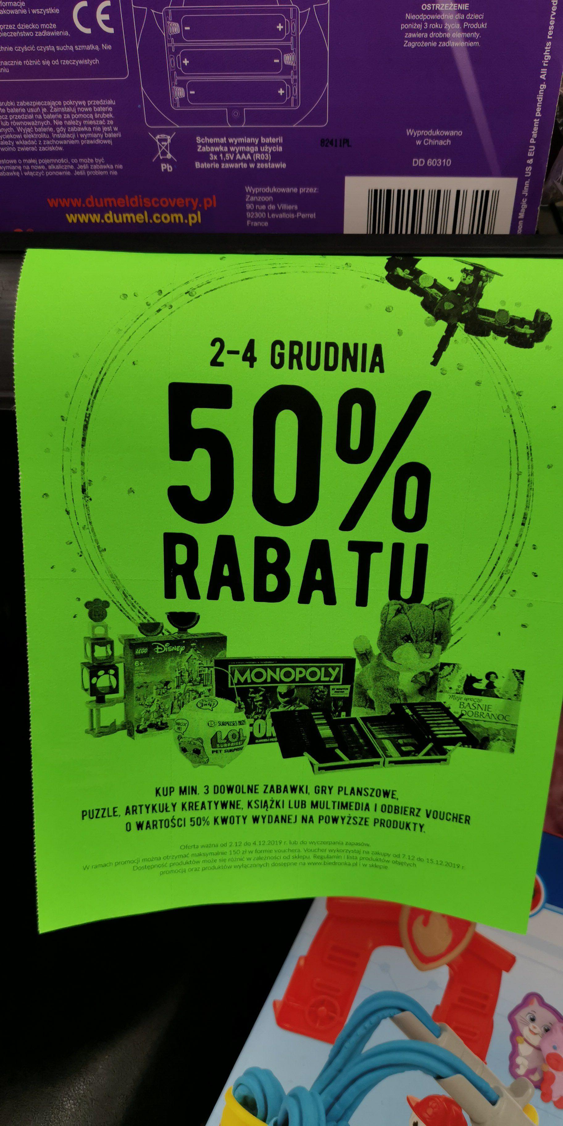 Kup minimum 3 dowolne zabawki, puzzle bądź artykuły kreatywne a 50% dostaniesz w bonie na następne zakupy w Biedronce