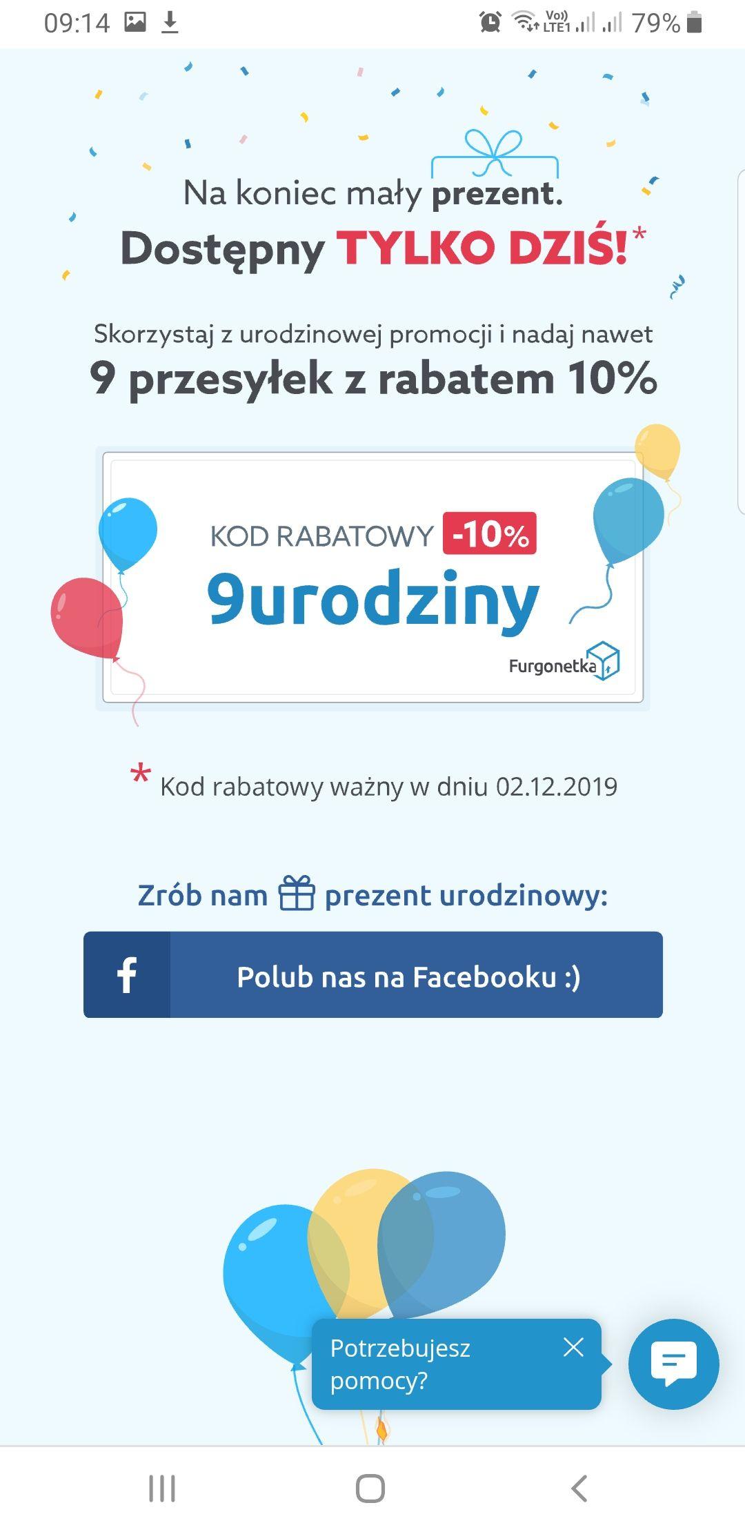 Zniżka 10% na paczki w www.furgonetka.pl