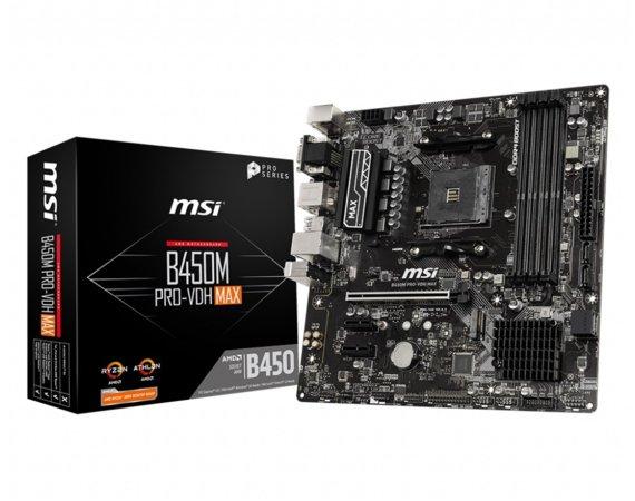 MSI B450M PRO-VDH MAX AM4 DDR4 DVI/VGA/HDMI mATX - Płyta główna