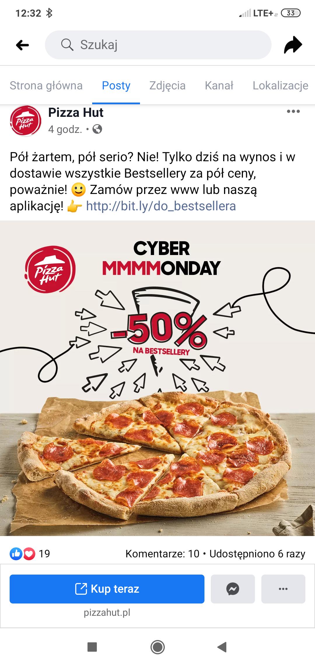 Pizza hut, bestsellery za pół ceny :)
