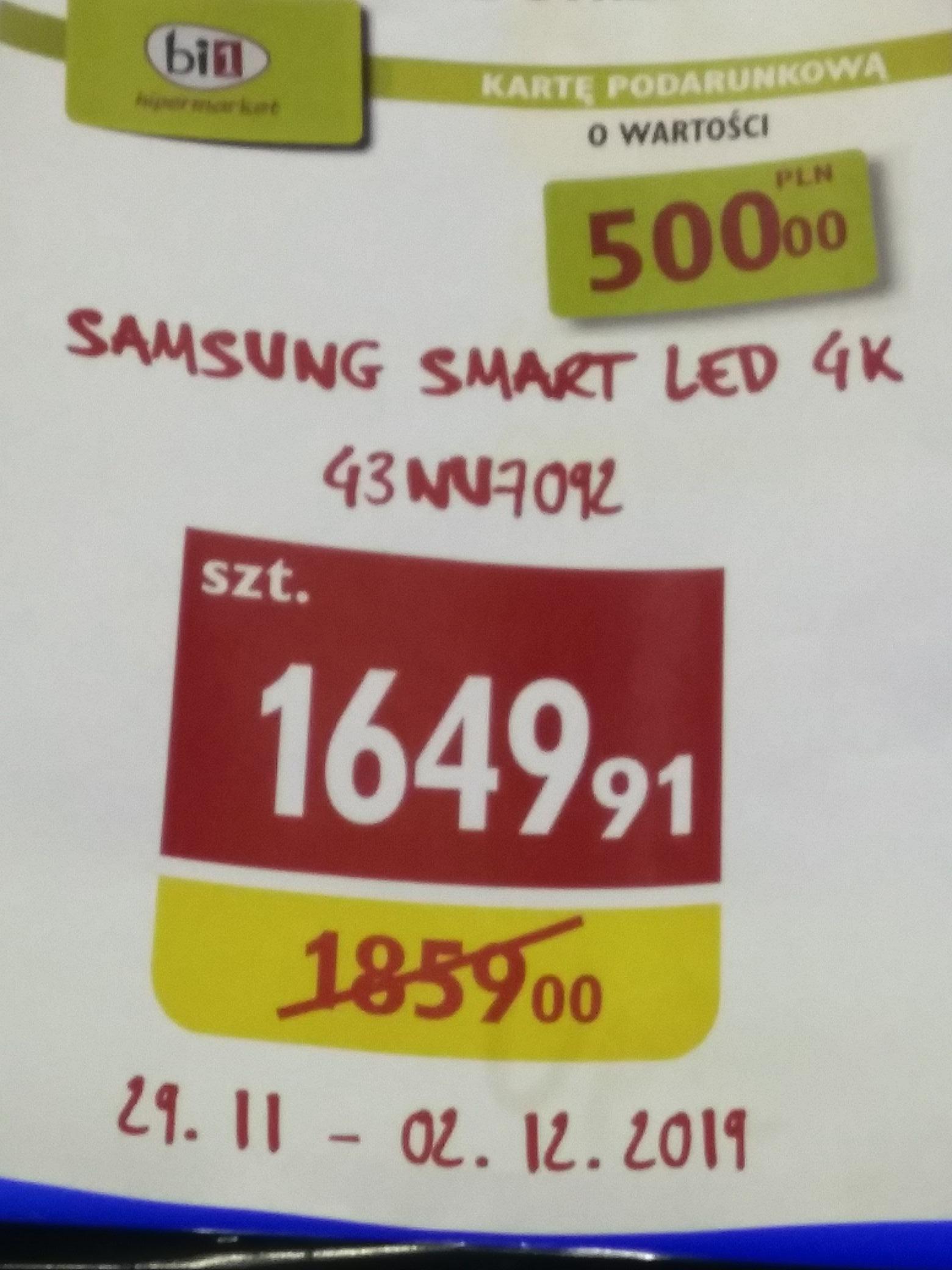 Telewizor 43 cale smart samsung 4k 43NU7092U (+500zł na karcie podarunkowej) Hipermarket bi1 BIAŁYSTOK