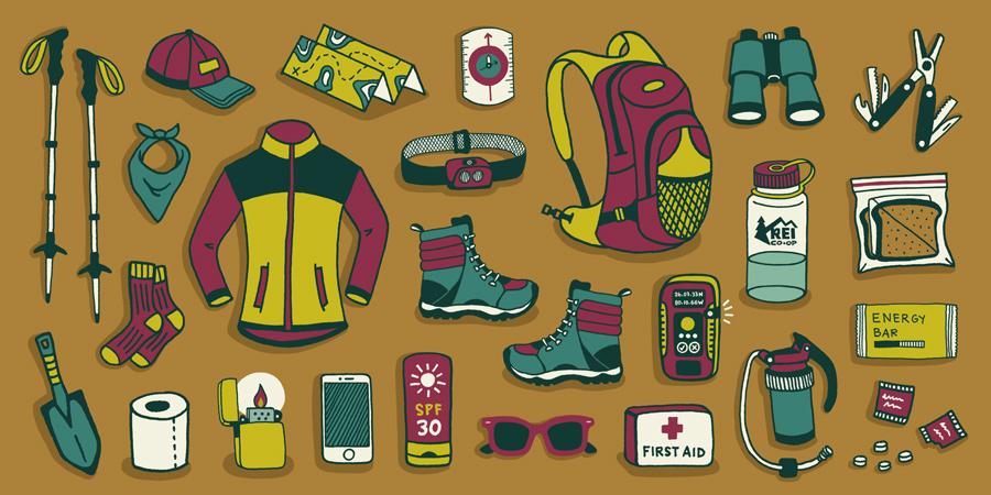 Zestawienie sprzętu górskiego - plecaki, kije, kuchenki i inne akcesoria