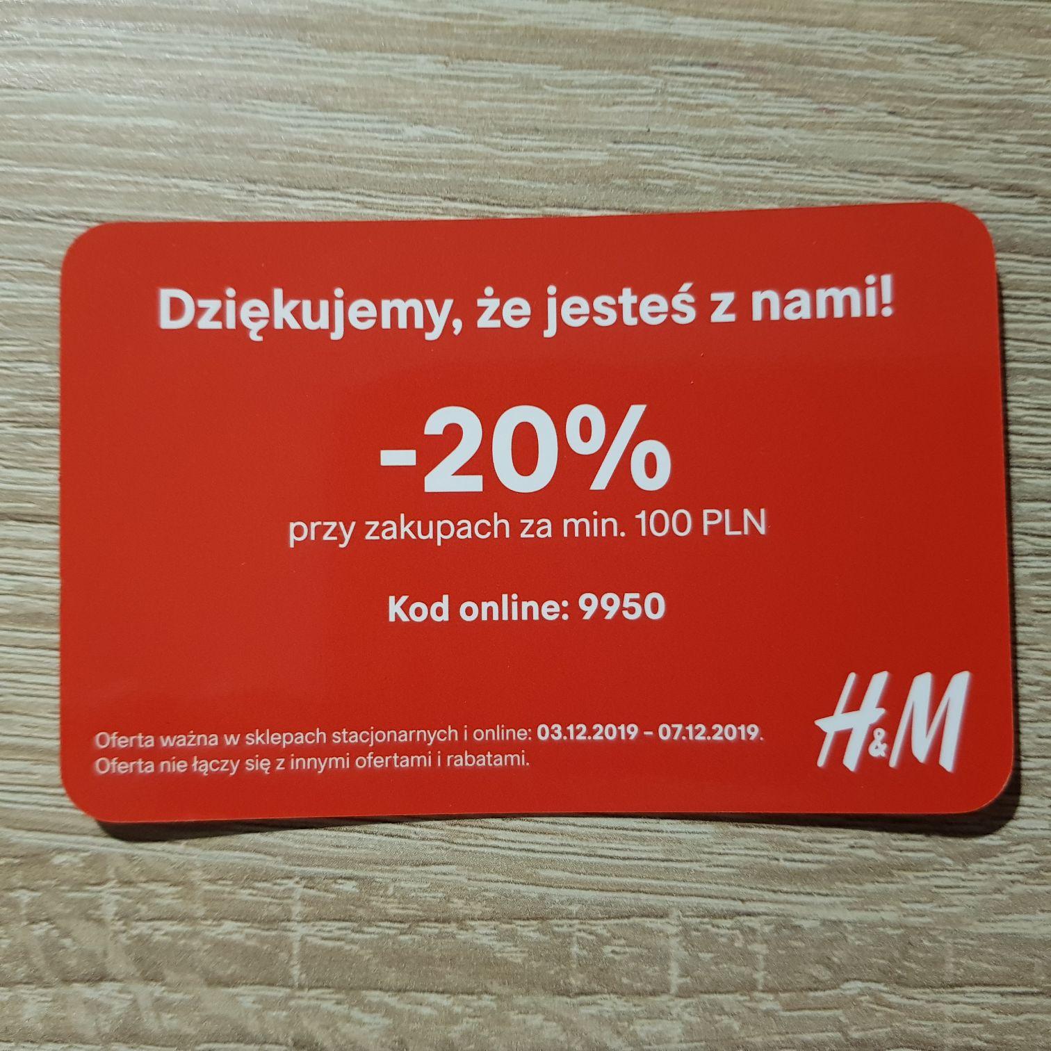 Kod rabatowy -20% H&M (MWZ 100zł)