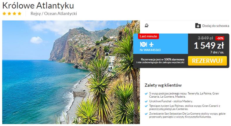 Rejs po Wyspach Kanaryjskich + Madera od 2193 zł (5 portów, w cenie loty i all inclusive light)