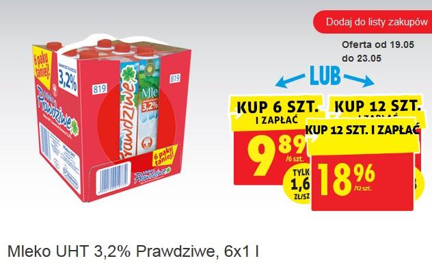 Mleko 3,2% w Biedronce 1 litr za 1,58 (kupując 12l) lub 1,65 (kupując 6l)