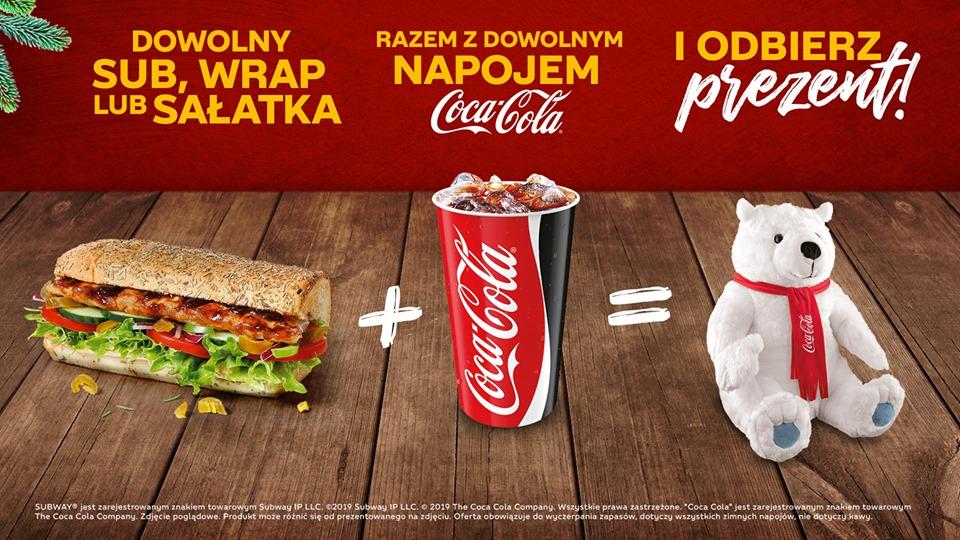 Subway - przy zakupie Suba, wrapa lub sałatki + coca cola= maskotka miś gratis