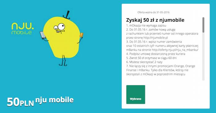 mOkazja mBank: 50 zł za jedną i 100 zł za dwie umowy @nju mobile