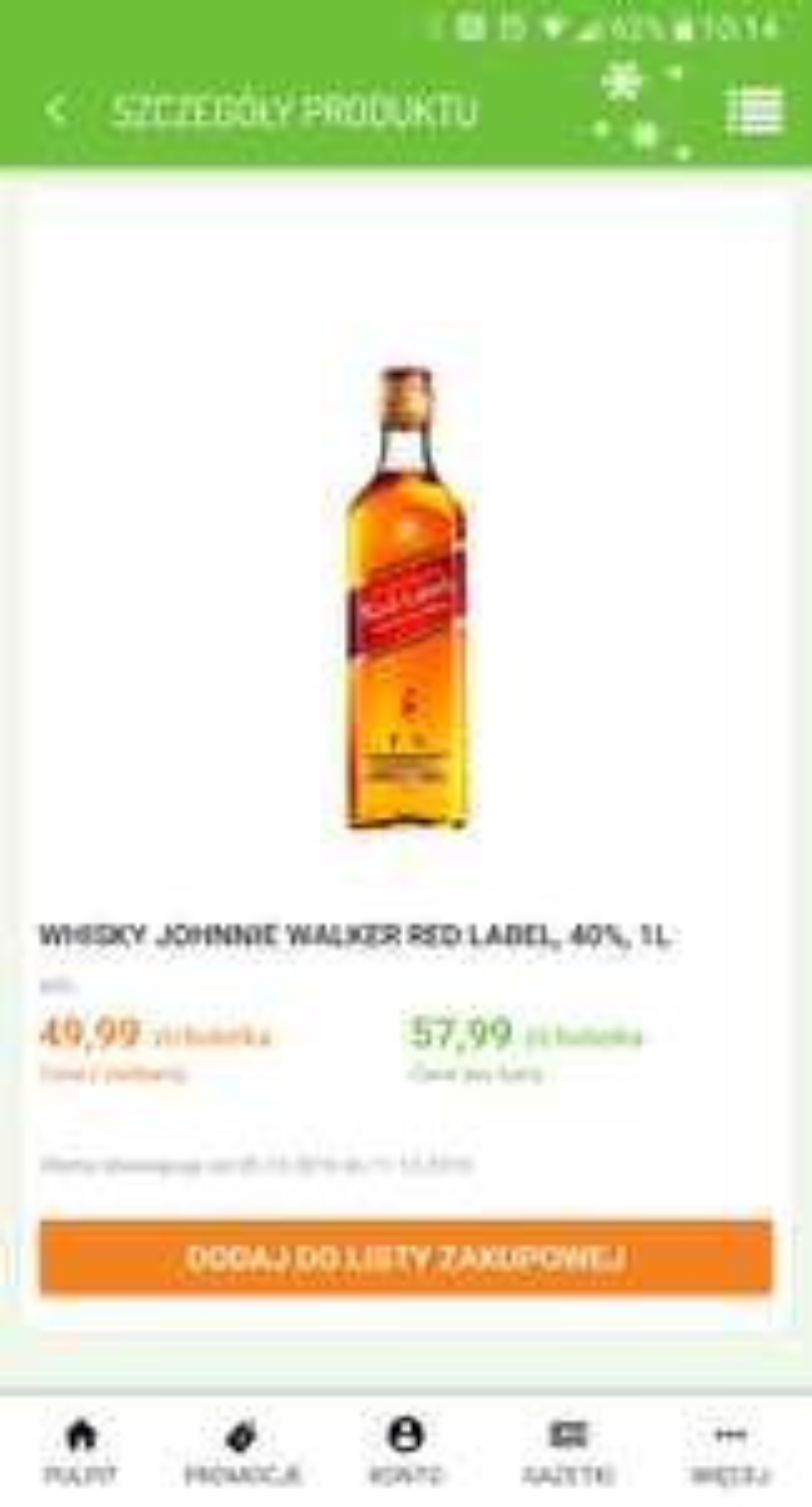 Whisky Johnnie Walker Red Label, 40%, 1l @ Delikatesy Centrum