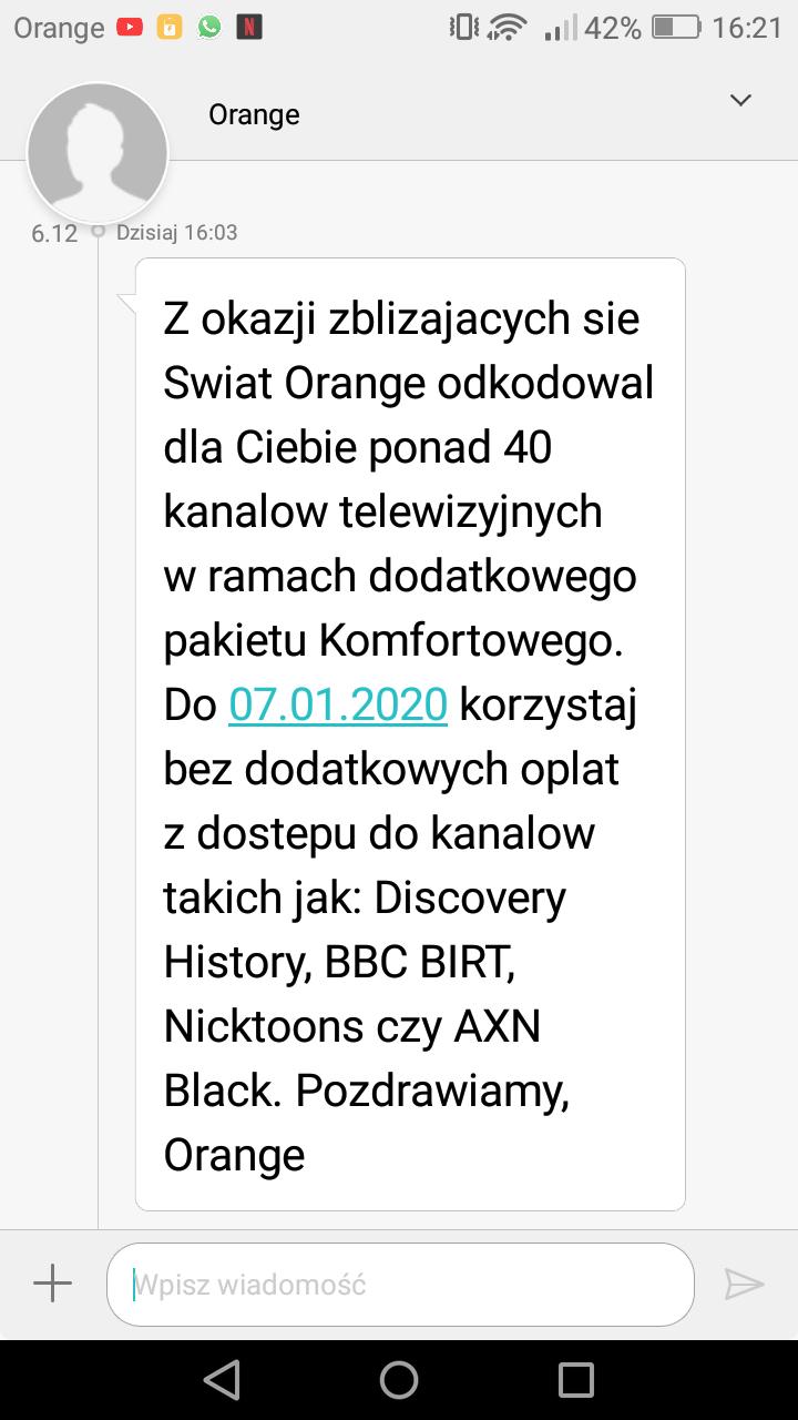 Orange Odblokowane kanały Pakiet Komfort