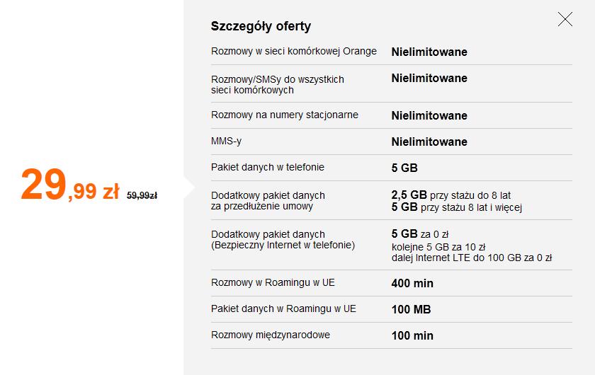 Abonament Orange Smart Plan LTE tylko SIM  29,99 zł zamiast 59,99zł dla Klientów posiadających usługi stacjonarne w Orange