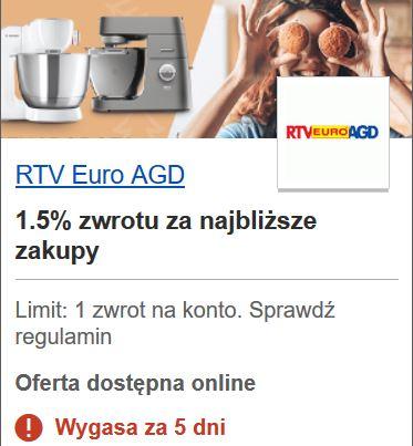 Do 100 zł (1,5 %) zwrotu za zakup w RTV Euro AGD przy płatności kartą Visa - z programu Visa Oferty