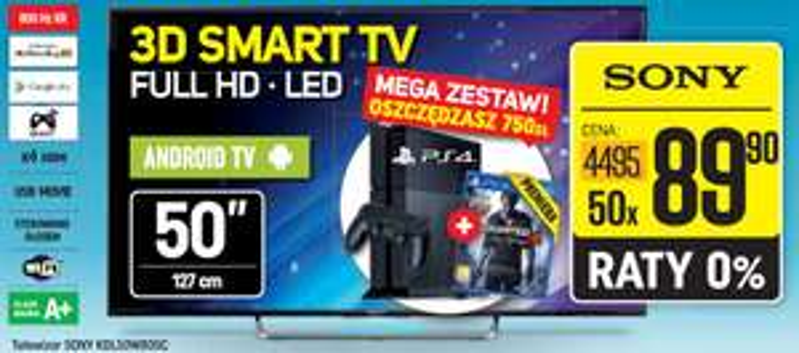 TV Sony KDL-50W805C + konsola PS4 1TB + Uncharted 4 w cenie 4495 zł @ NEONET