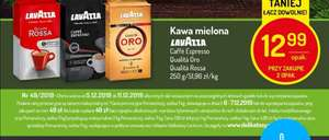 Kawa lavazza Oro Rossa espresso 250g przy zakupie 2opak Delikatesy centrum