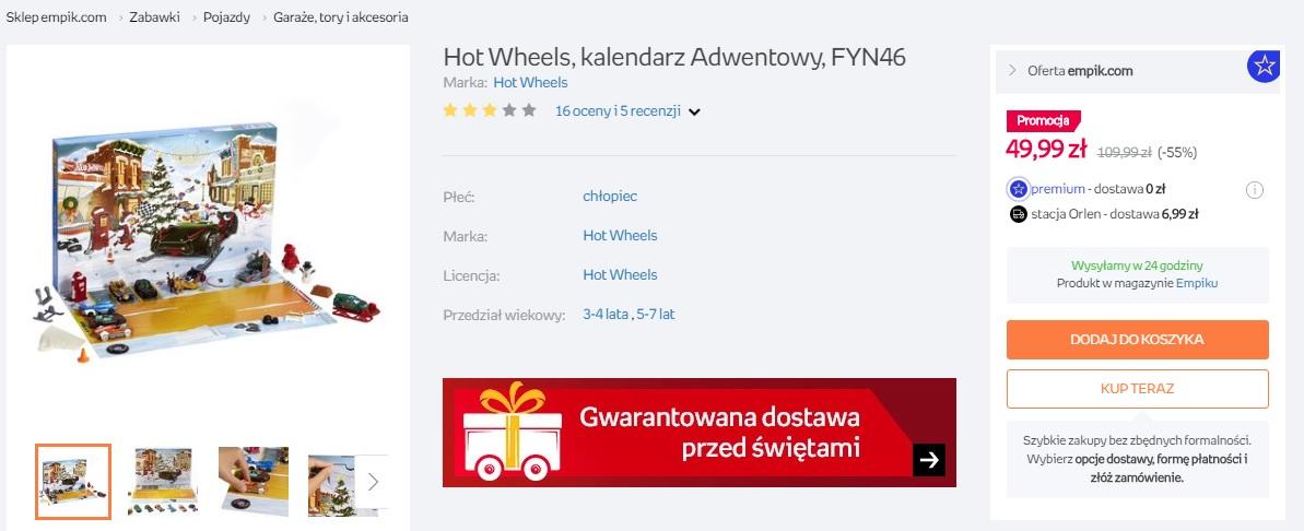Kalendarz adwentowy Hot Wheels możliwe 49,99zł w Empiku