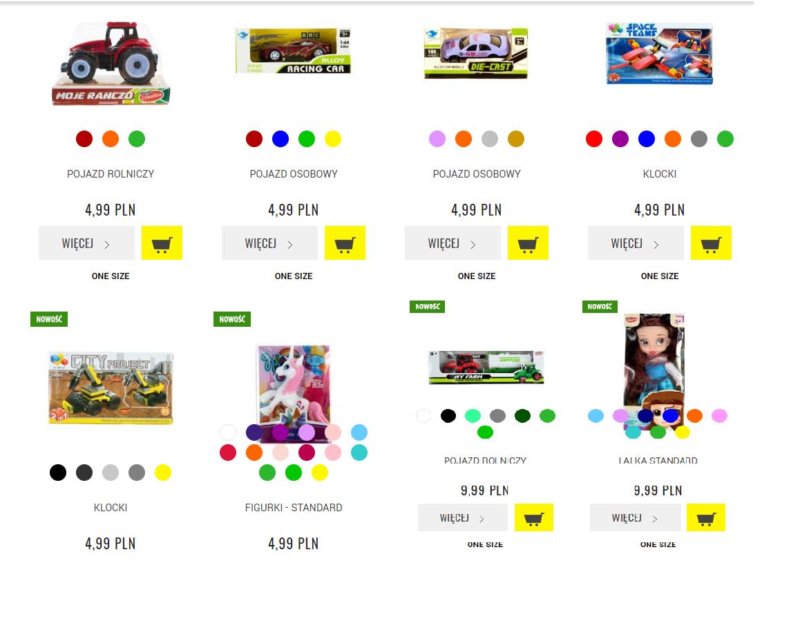 TXM Zabawki od 4.99 zł . Autka, traktory, lalki