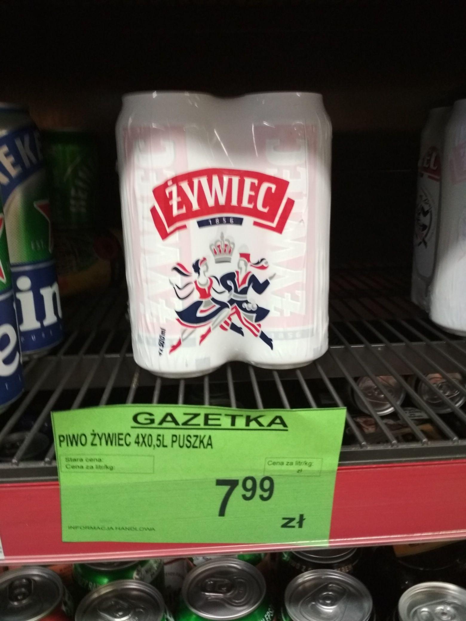 Piwo Żywiec, czteropak. Spar
