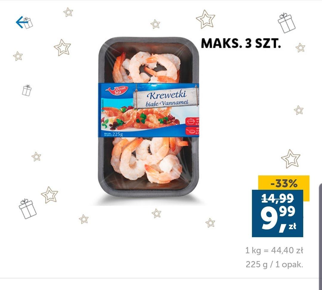 Krewetki białe Vannamei - 9.99zł za 225g - Lidl (Lidl Plus)