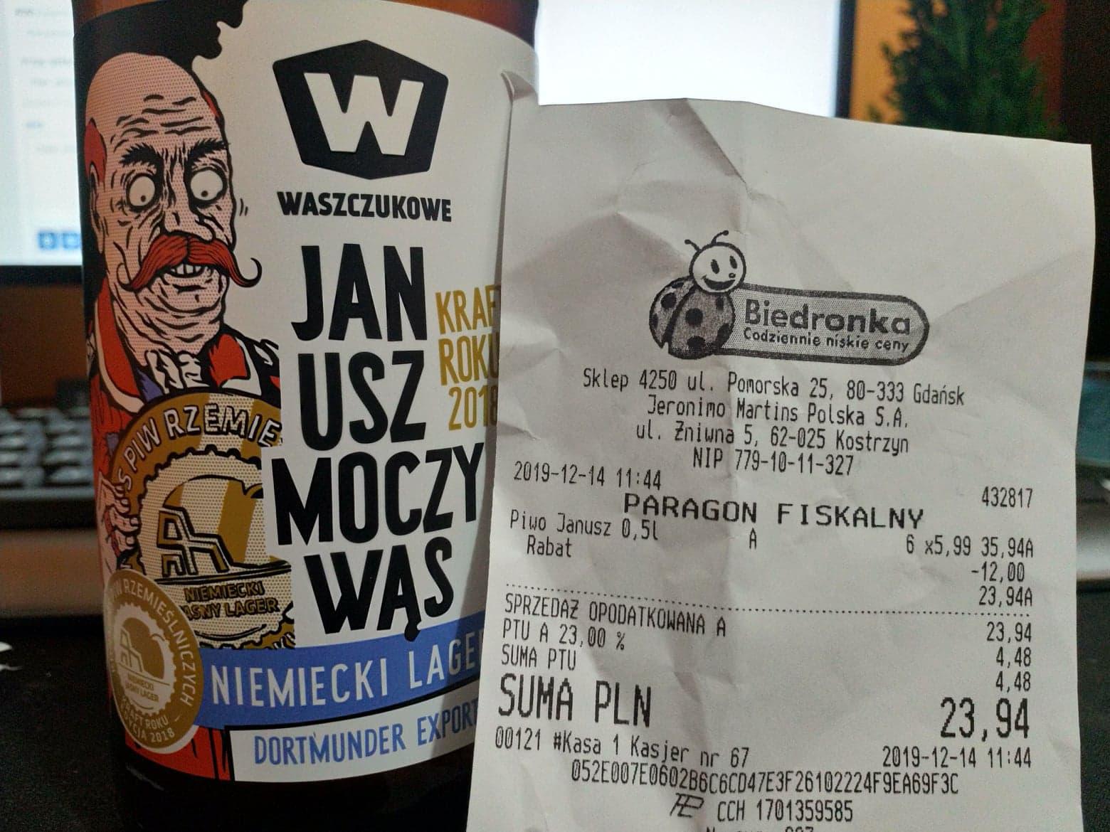 Piwo. Janusz Moczywąs . Biedronka. Niemiecki Lager. Browar Waszczukowe.