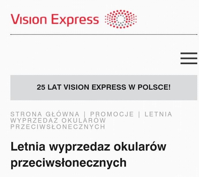 Do 70 % rabatu na okulary przeciwsłoneczne Vision Express