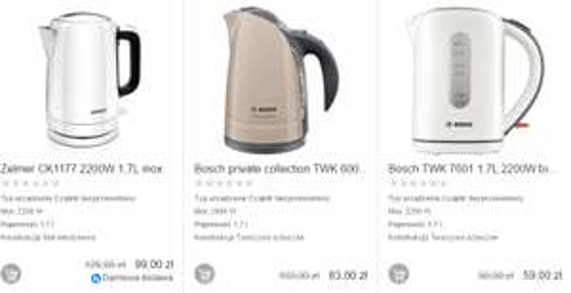 Czajniki Bosch i Zelmer w niskich cenach @ satysfakcja.pl