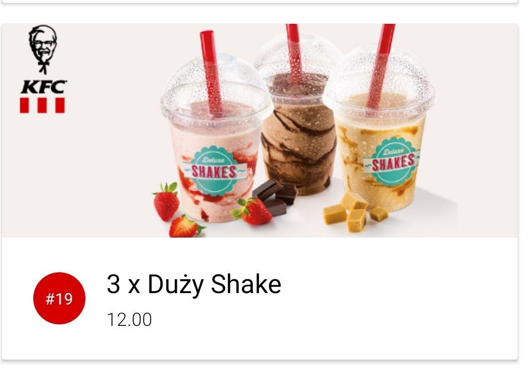 3x Duży Shake. Kfc