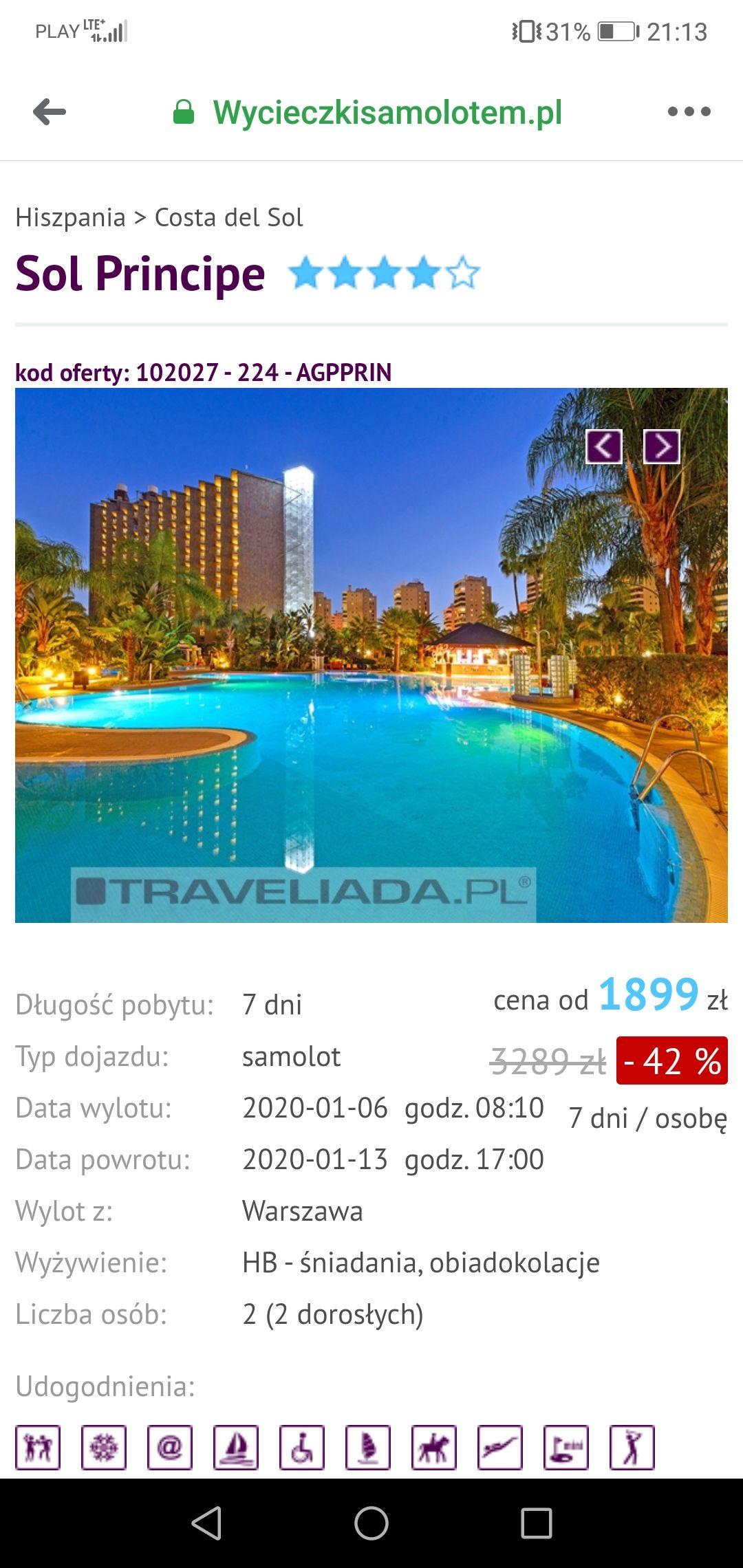 SOL PRINCIPE 4 Gwiazdki- Costa Del Sol -Hiszpania- Duży hotel z wieloma atrakcjami dla dzieci i dorosłych - Cena od 1899 zł / osobę