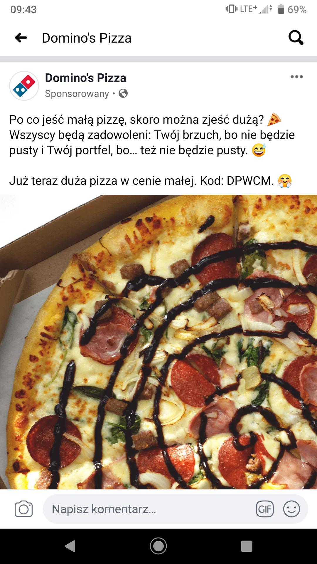 Duża w cenie małej, domino's pizza