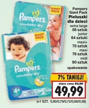 Pieluszki Pampers Giant Pack za 49,99zł @ Kaufland