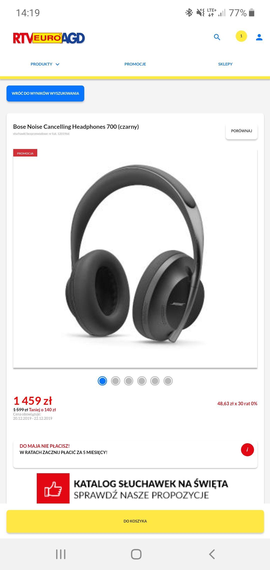Słuchawki Bose 700 czarne