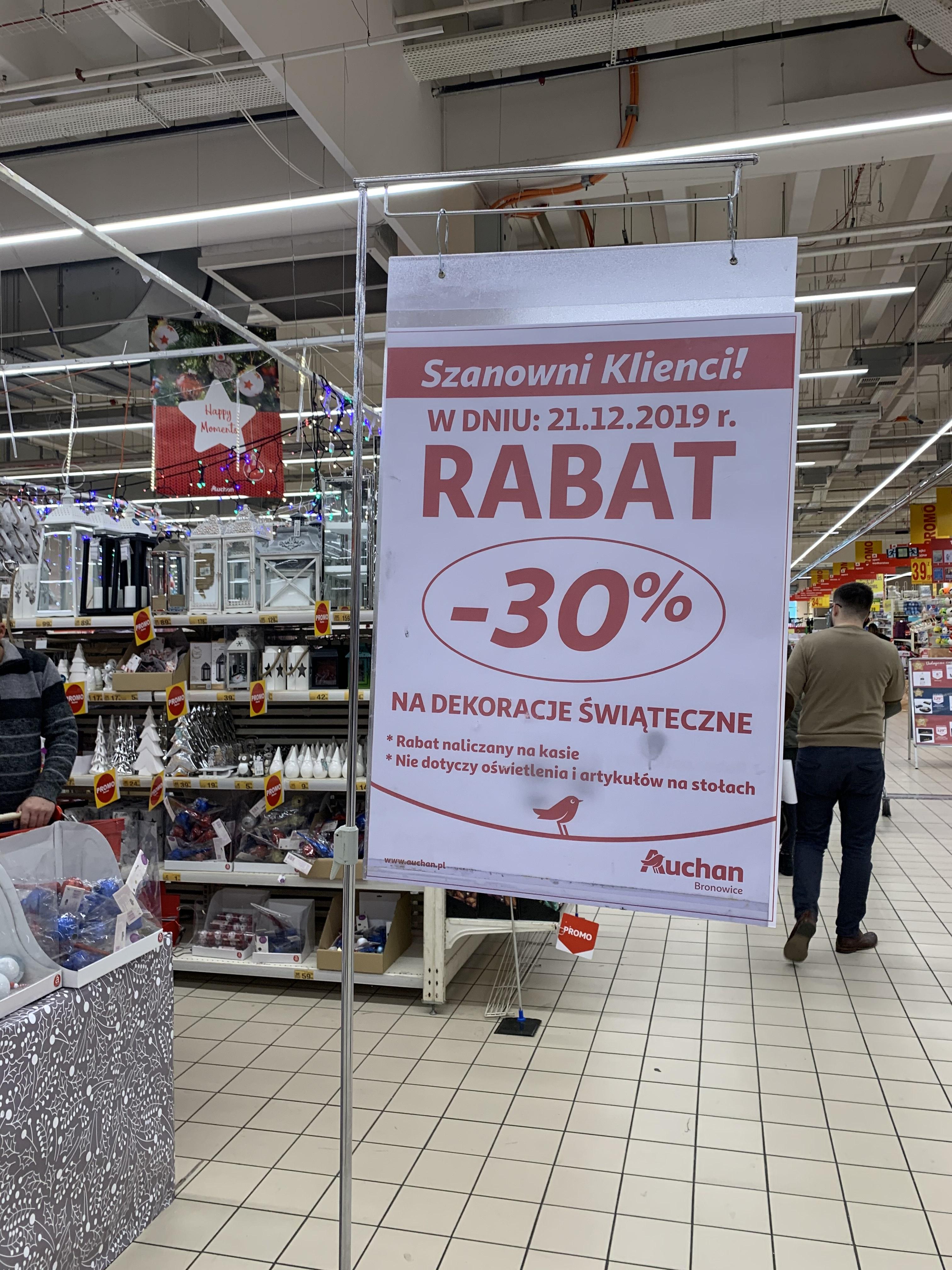Auchan Bronowice -30% na dekoracje świąteczne