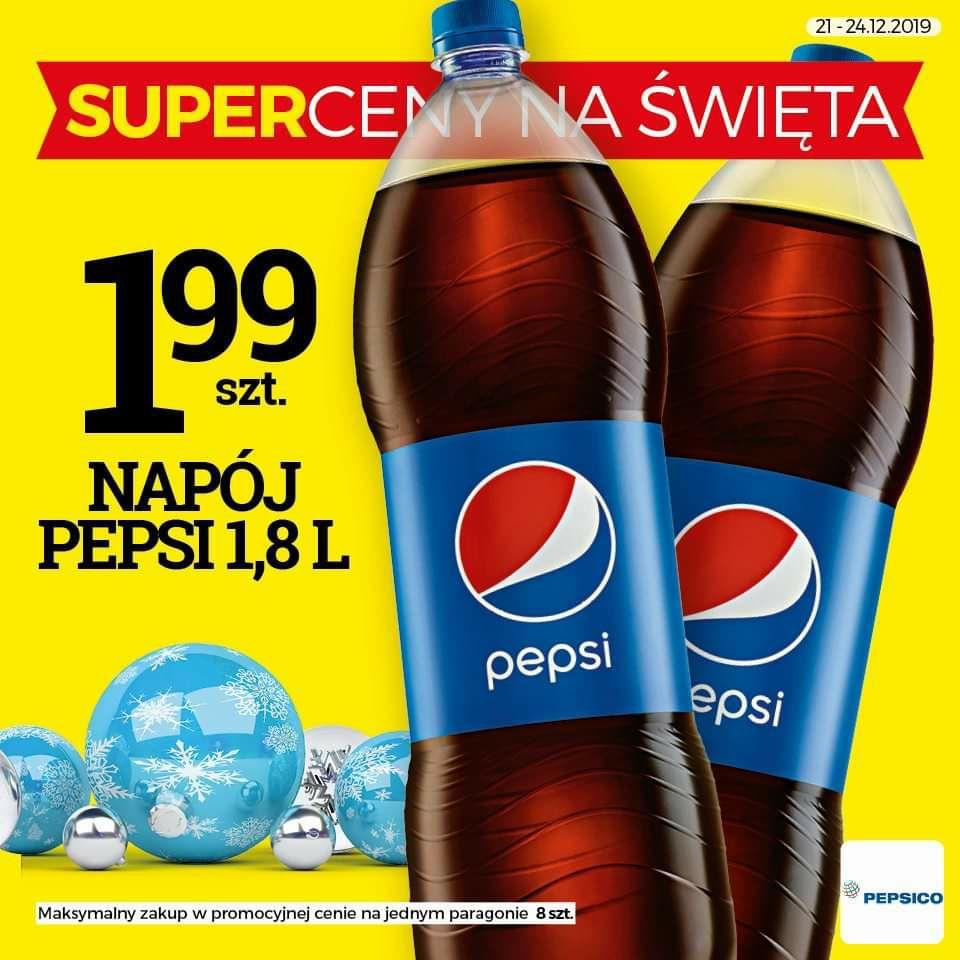 Napój PEPSI Cola 1,8L za 1,99 zł (1,10 zł/L) @TOPAZ