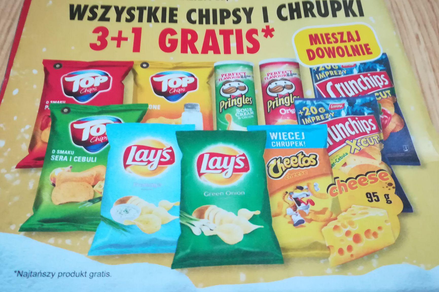 Biedronka Wszystkie chipsy i chrupki 3 plus 1 gratis