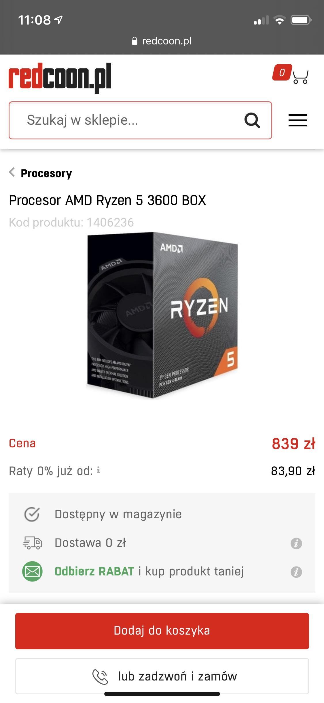Procesor Ryzen 3600 (814zł newsletter)