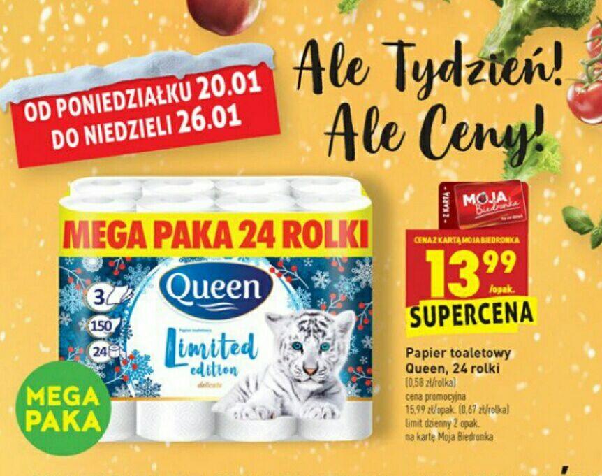 Biedronka, papier toaletowy Queen 24 rolki za 13,99zl z kartą moja biedronka