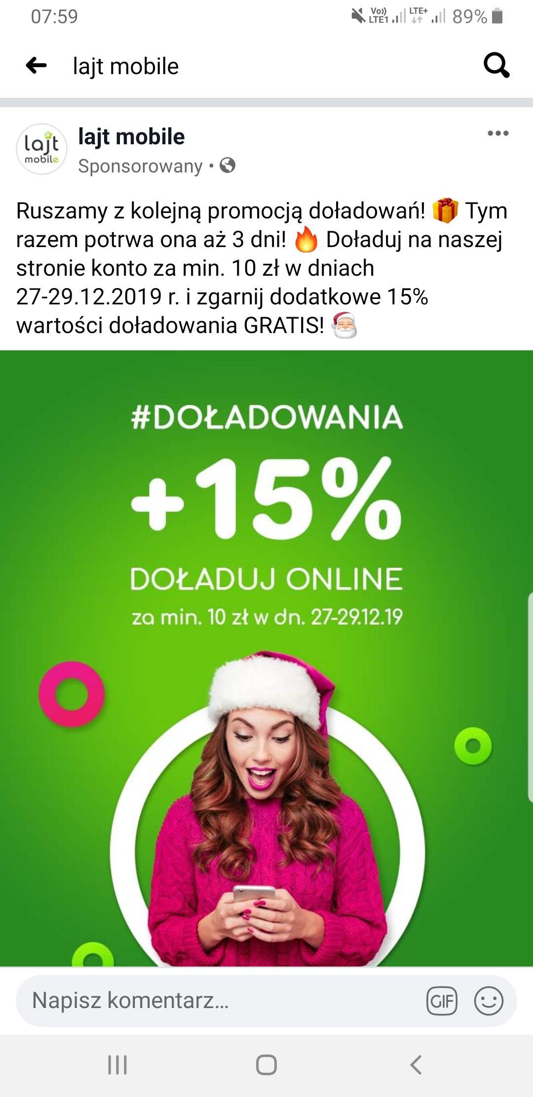 15% więcej za doładowanie w Lajt mobile