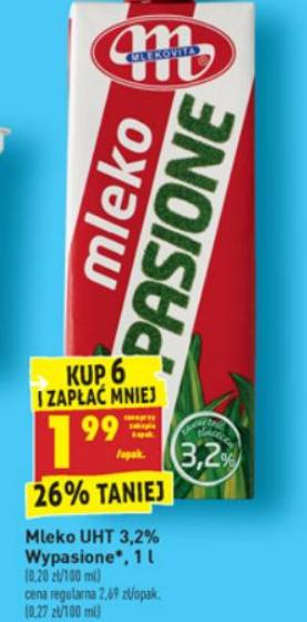 BIEDRONKA - Mleko wypasione UHT 3,2% 1,99 PLN za karton przy zakupie 6 szt