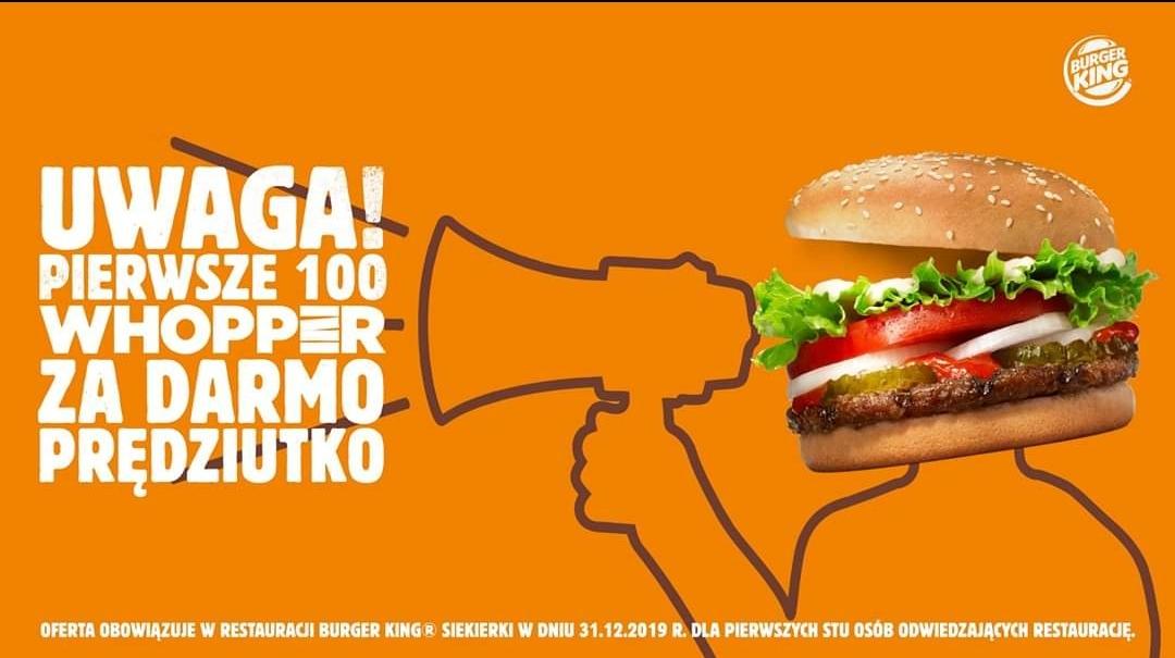 100 Darmowych Whopper'ów w Burger King - MOP Siekierki, Wróblewo 73,62-025 Kostrzyn