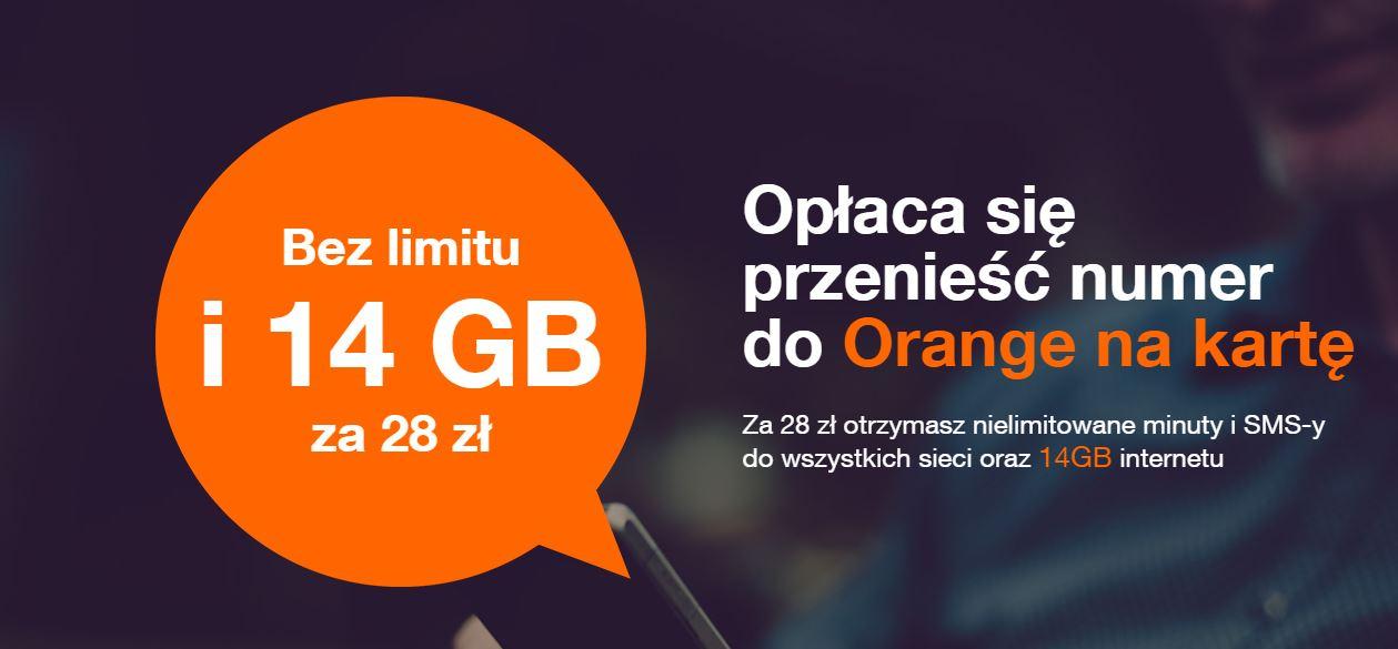 Orange - bez limitu i 14 GB za 28 zł dla przenoszących numer