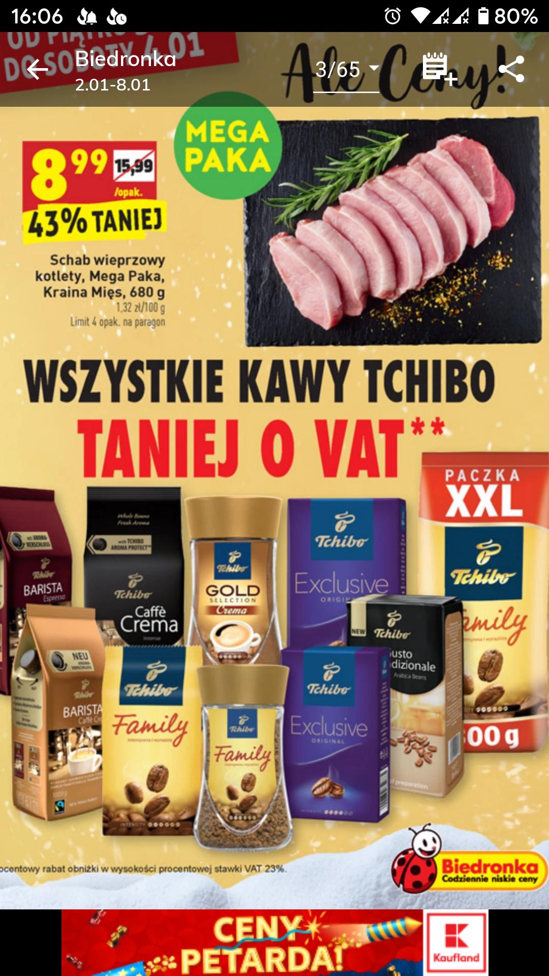 Wszystkie kawy Tchibo taniej o VAT w Biedronce - Tylko 03.01 - 04.01