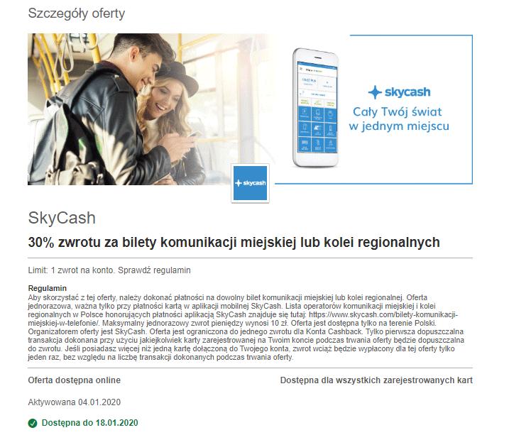 Visa Oferty - SkyCash 30% zwrotu za bilety komunikacji miejskiej lub kolei regionalnych