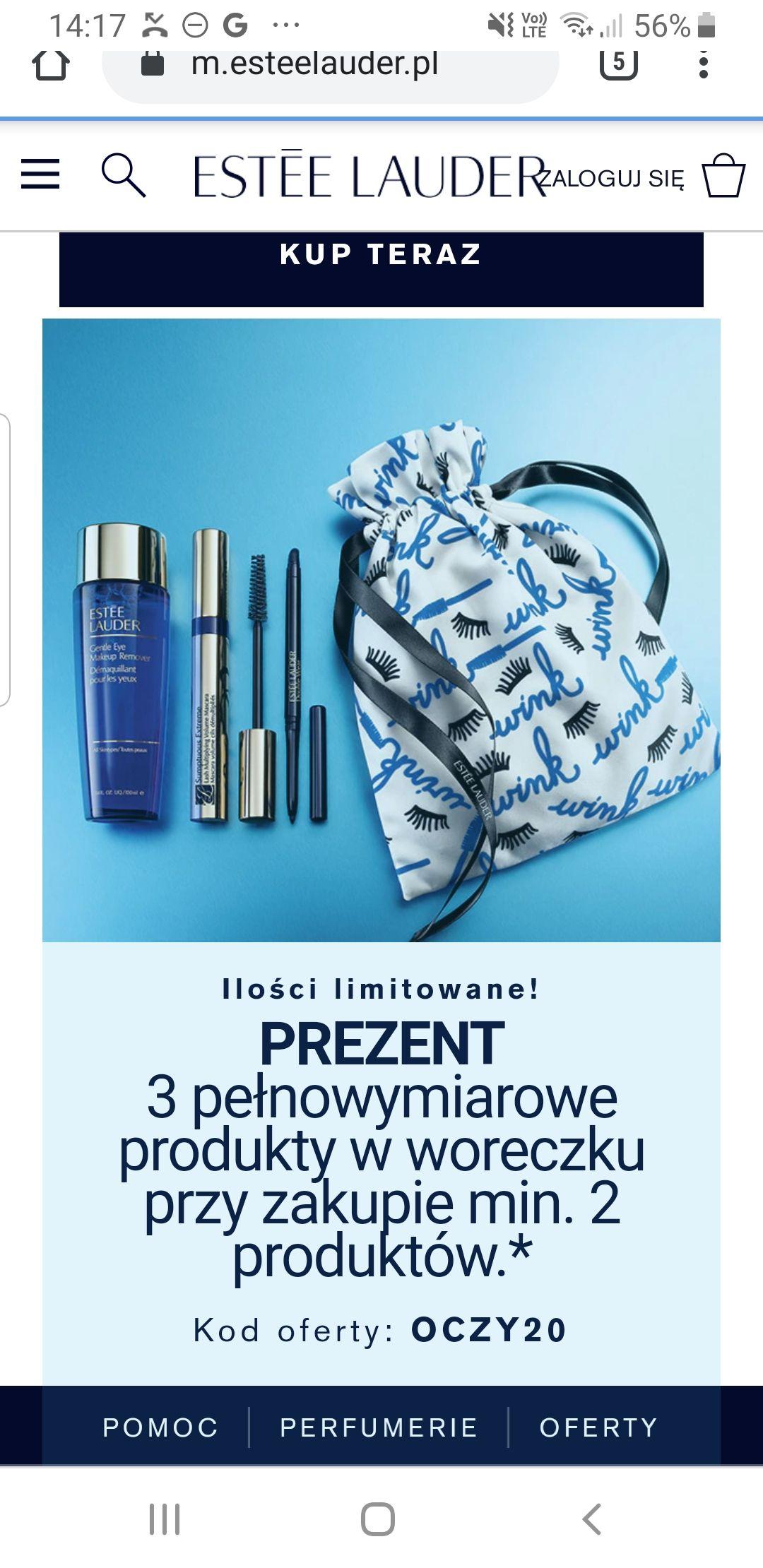 Estee Lauder woreczek z kosmetykami o wartosci ponad 300pln przy zakupie 2 produktow