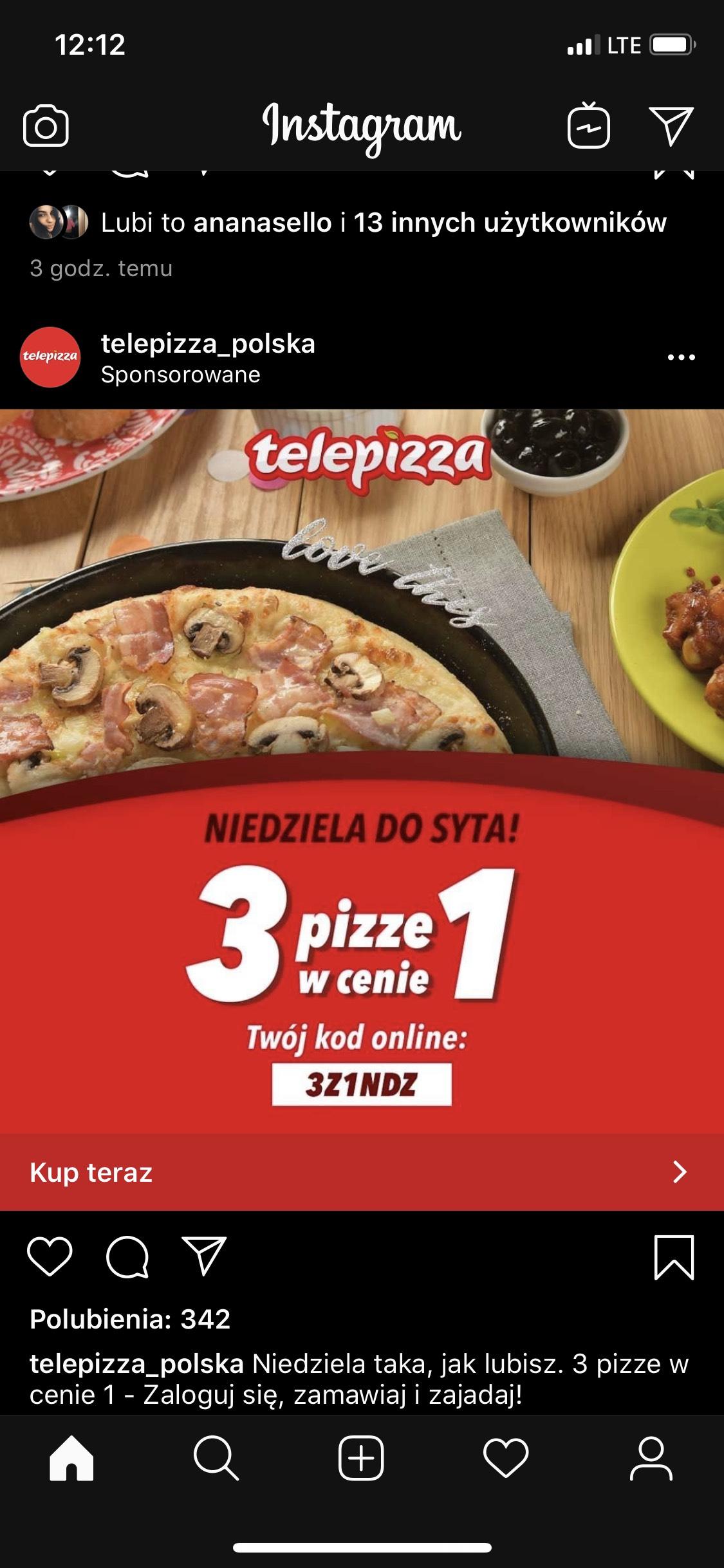 3 duże pizze w cenie 1 Telepizza