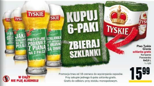 Tyskie Gronie 6x0,5l + szklanka gratis za 15,99 zł @ POLOmarket