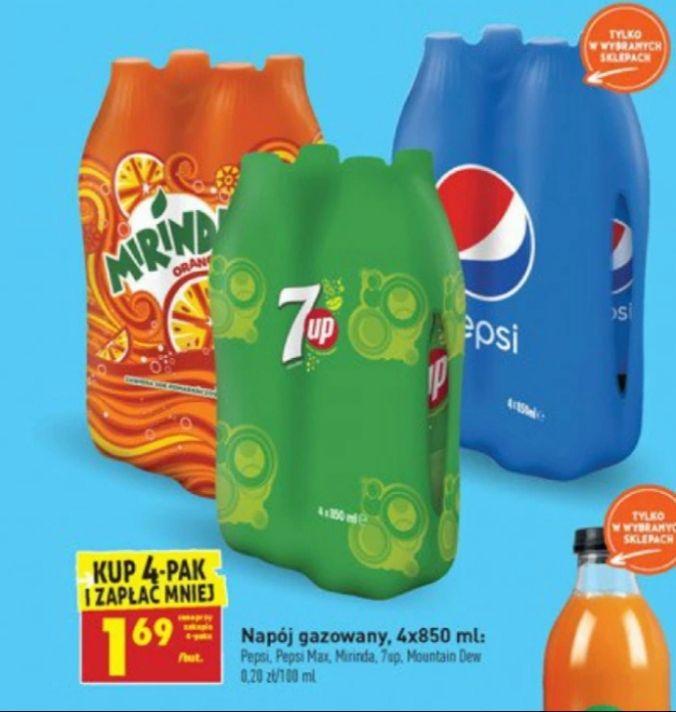 Mirinda,7Up,Pepsi 4×850ml @Biedronka
