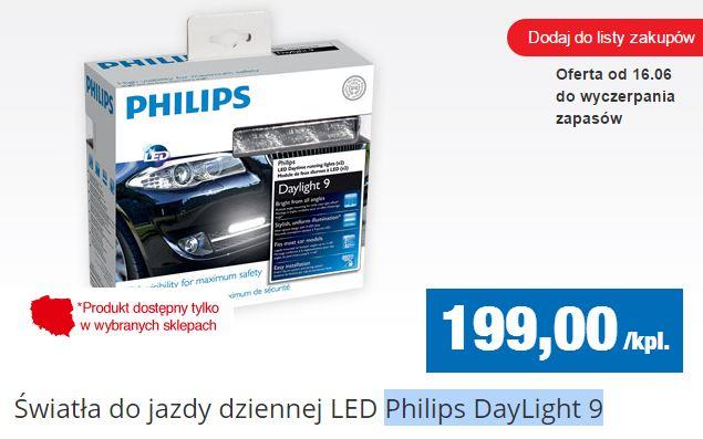 Światła samochodowe do jazdy dziennej LED Philips DayLight 9 za 199zł @ Biedronka