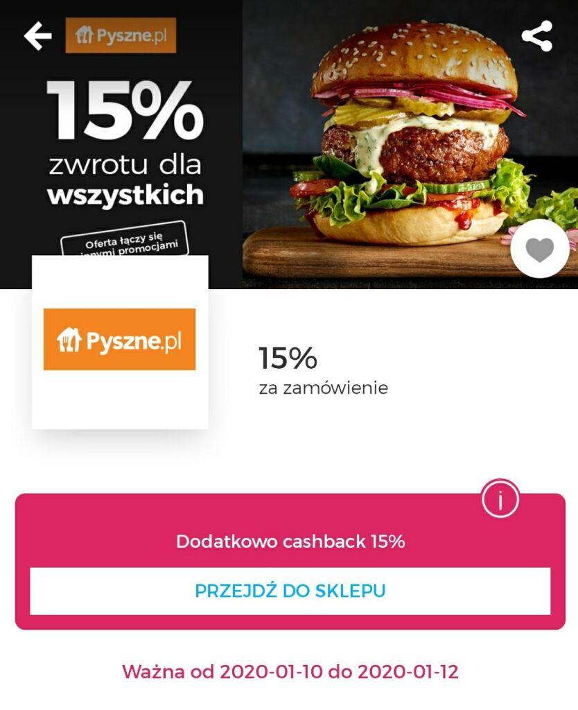 Pyszne.pl cashback goodie 15%