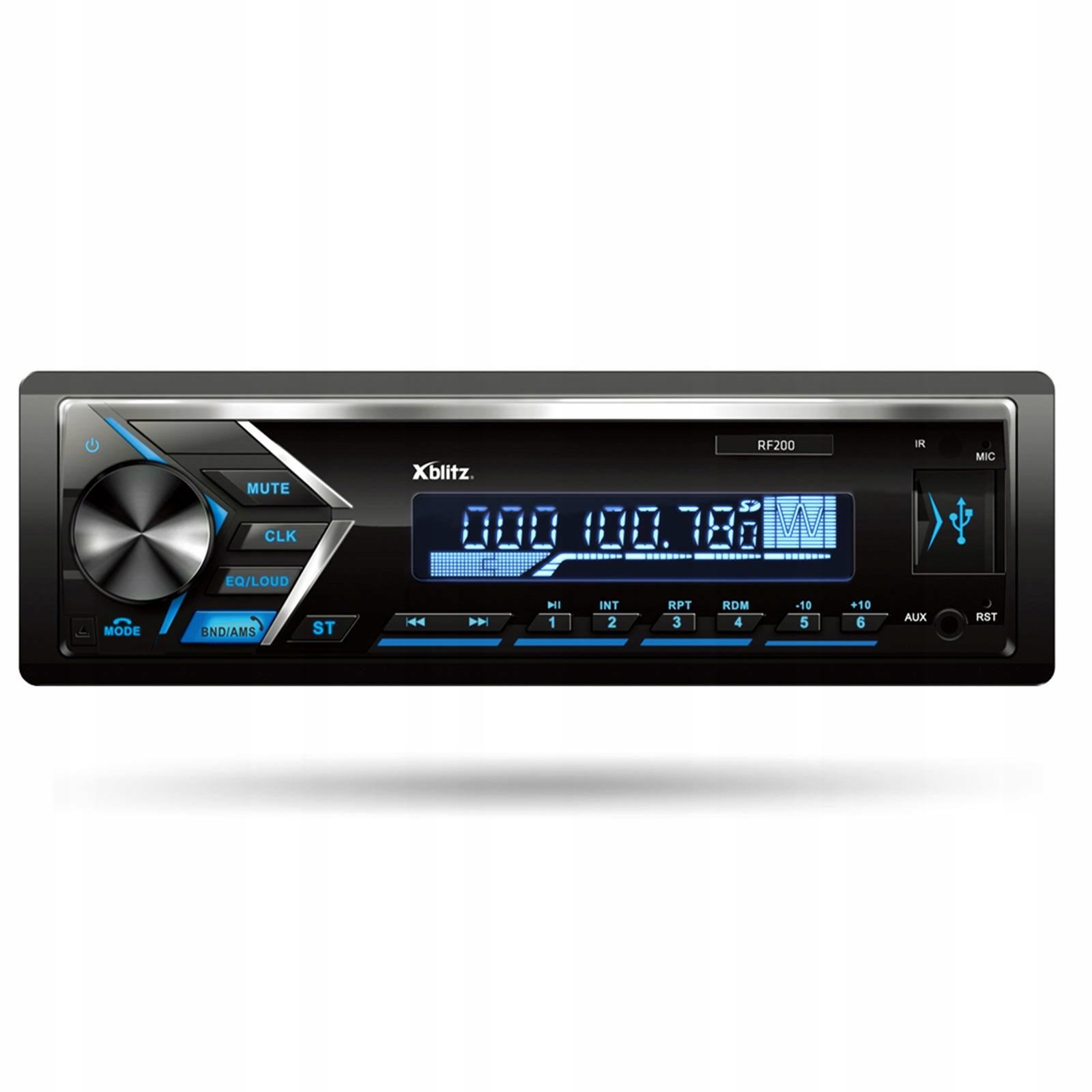 Radio samochodowe XBLITZ RF200, BT, 4x50W, 6 kolorów podświetlenia